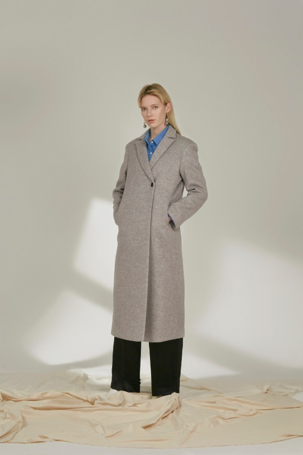 SINGLE ONE BUTTON COAT :GREY
