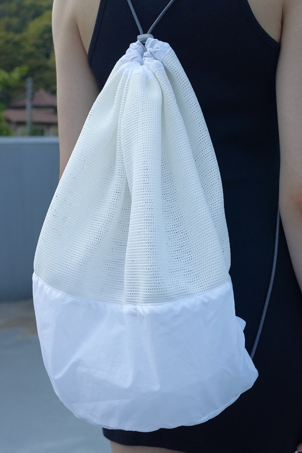 MESH 2WAY BEACH BAG_WHITE/IVORY
