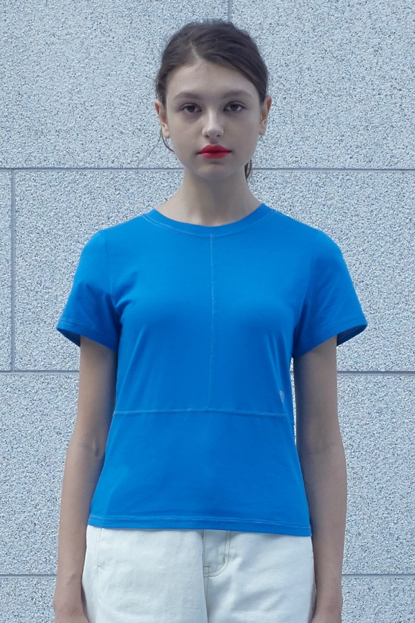 COLOR STITCH T-SHIRT_BLUE