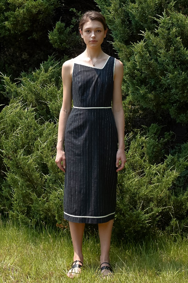 LINEN STRIPE ONE-PIECE_DARK NAVY