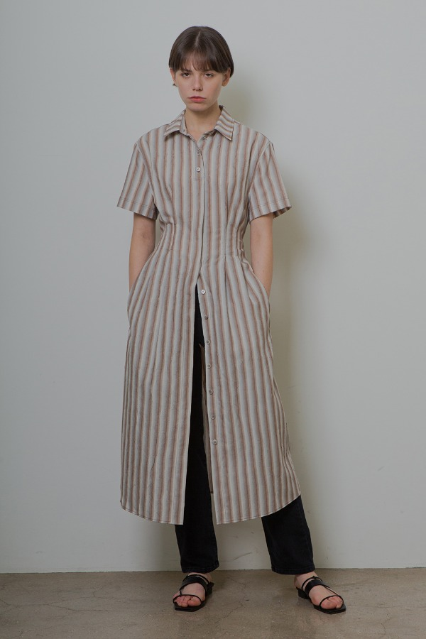 CRINKLE SHIRT ONE-PIECE_STRIPE