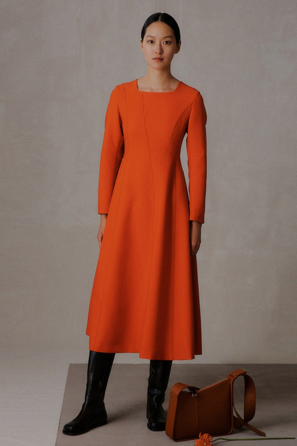 VOLUME STITCH ONE-PIECE_ORANGE