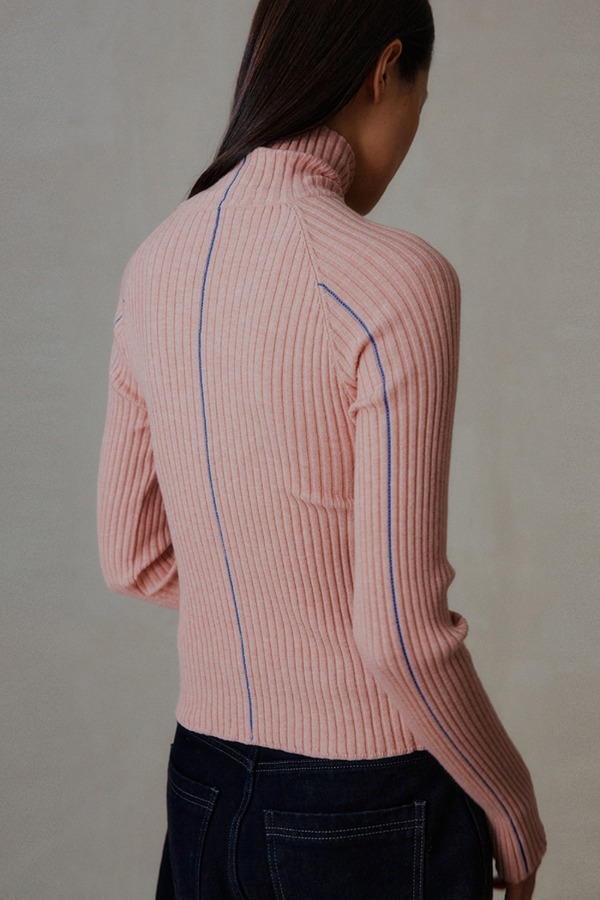 LINE TURTLENECK KNIT_PINK
