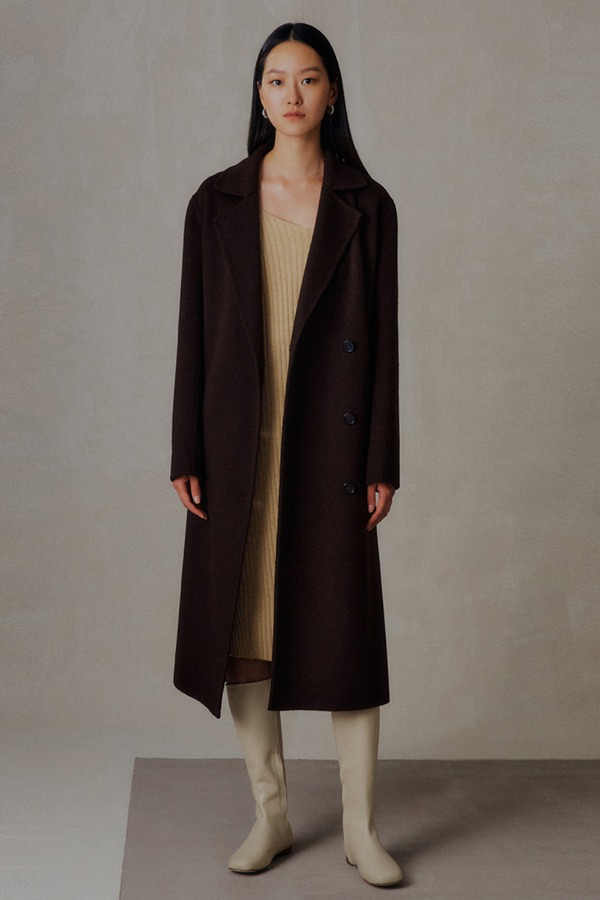 CASHMERE DOUBLE HANDMADE COAT_BROWN