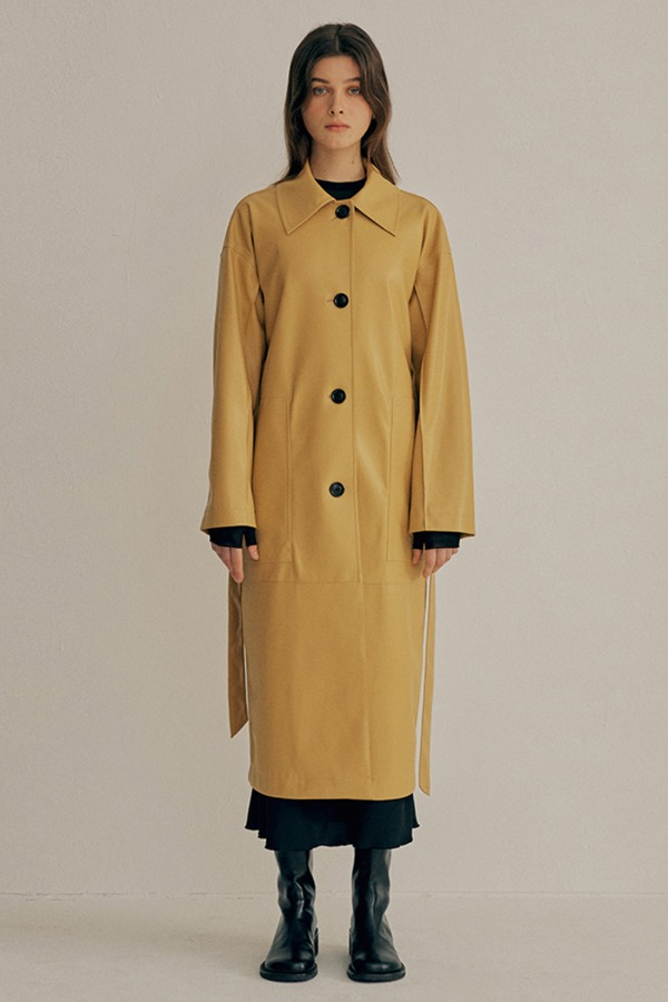 [3/8순차출고]FAUX-LEATHER TRENCH COAT_MUSTARD