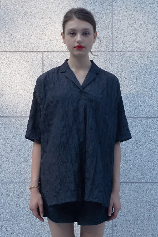 CRINKLE RESORT SHIRT_BLACK