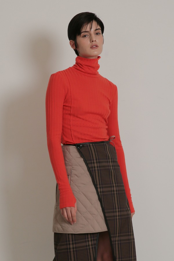 PIN TUCK TUTTLE NECK_ORANGE