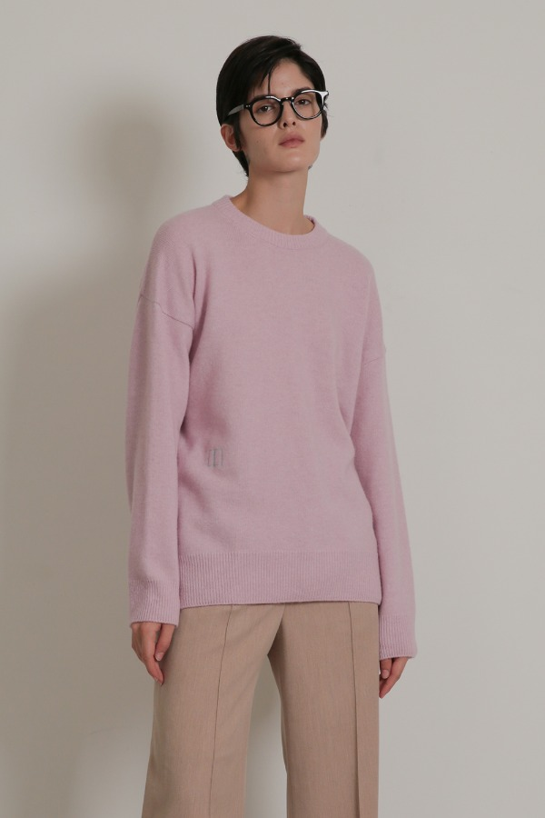 EMBROIDERY CASHMERE KNIT_PINK