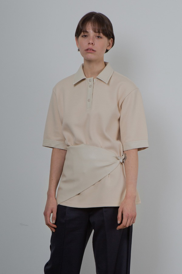 OVER-FIT POLO SHIRT_BEIGE