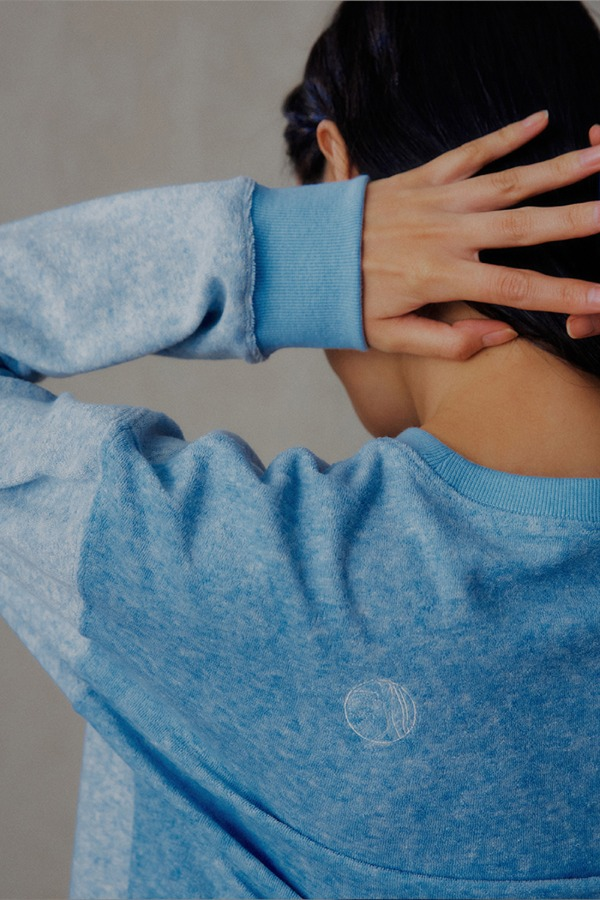 SOFT PATCH WORK LONG SLEEVE T-SHIRT_BLUE