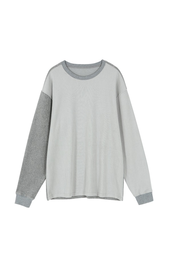 SOFT PATCH WORK LONG SLEEVE T-SHIRT_GREY