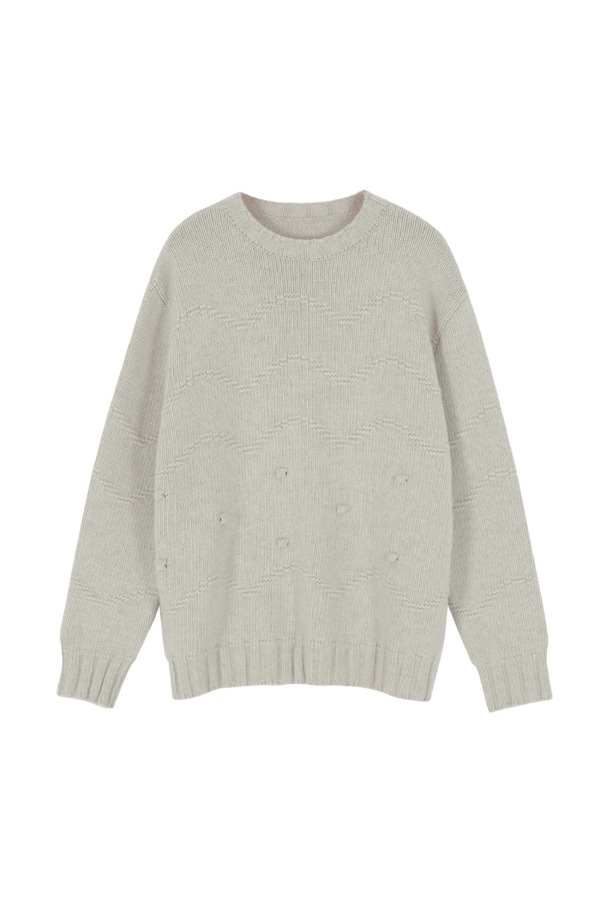 WAVE DOTS PULLOVER KNIT_CREAM