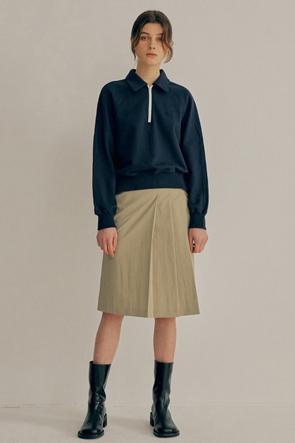 PLEATS MIDDLE SKIRT_OLIVE