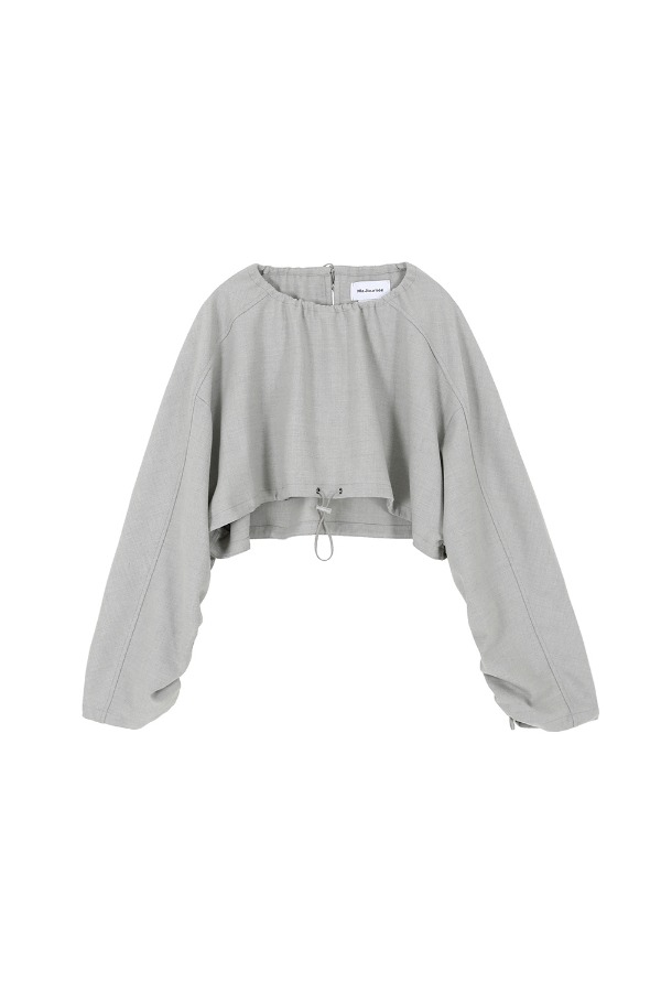 WOOL CROP TOP BLOUSE :GREY