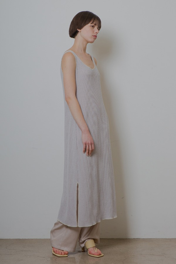 SLIT KNIT ONE-PIECE_GREY