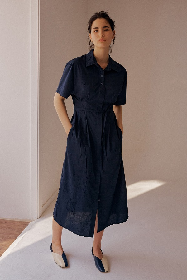 CRINKLE SHIRT ONE-PIECE_NAVY