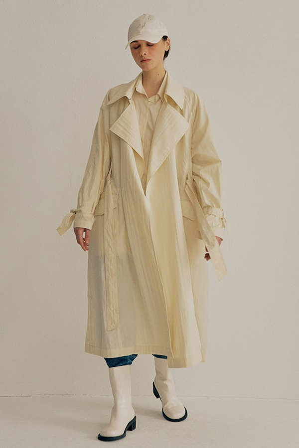 CRINKLE OVERSIZE TRENCH COAT_CREAM