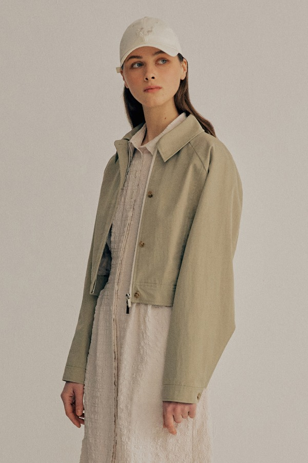 PLEATS BOMBER JACKET_OLIVE