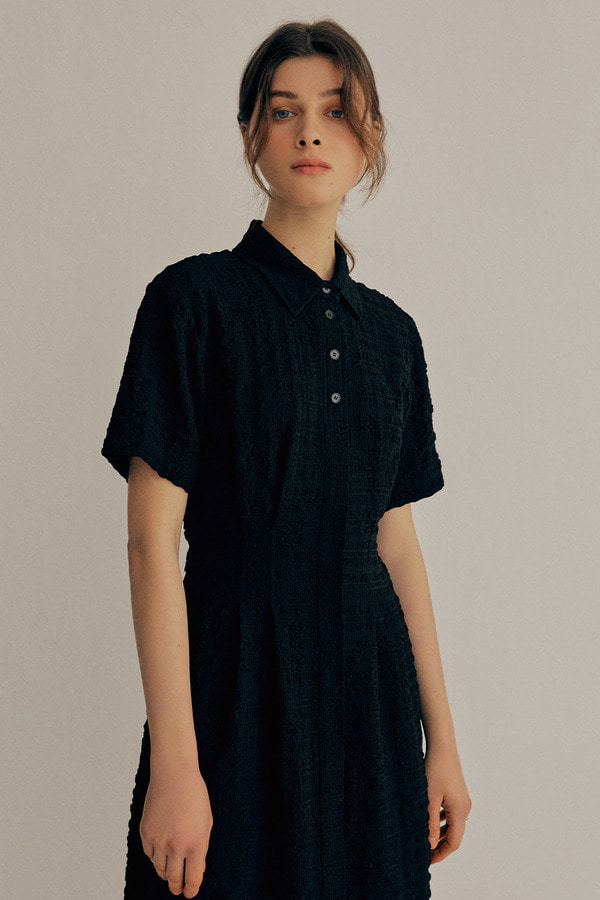 CRINKLE SHIRT ONE-PIECE 21VER_BLACK