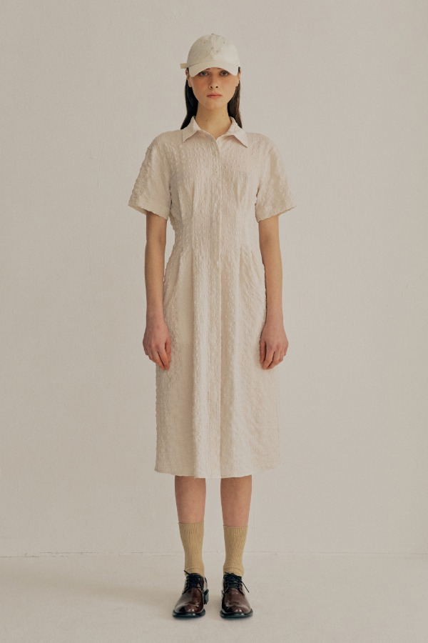 CRINKLE SHIRT ONE-PIECE 21VER_IVORY