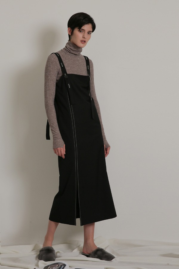 STITCH WOOL ONE-PIECE_BLACK