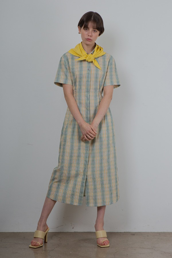 CRINKLE SHIRT ONE-PIECE_CHECK