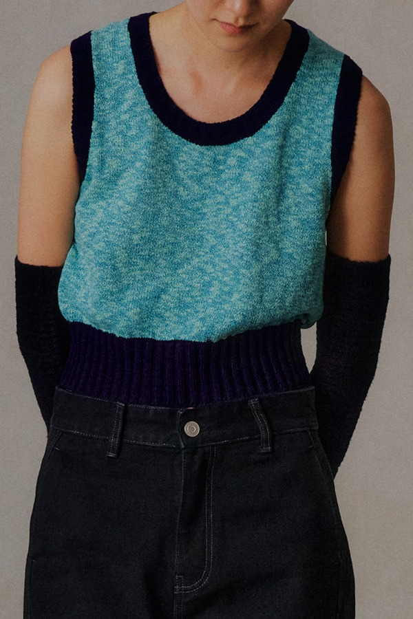 U-NECK CROP VEST_BLUE
