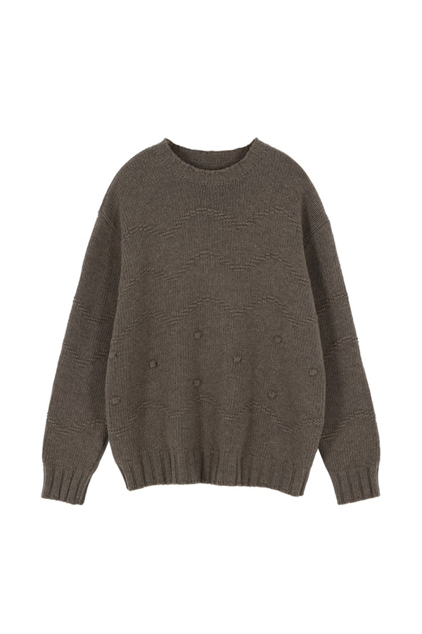 WAVE DOTS PULLOVER KNIT_COCOA