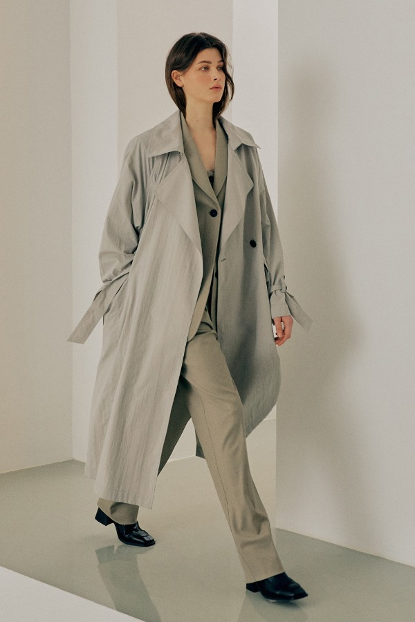 CRINKLE OVERSIZE TRENCH COAT_OLIVE